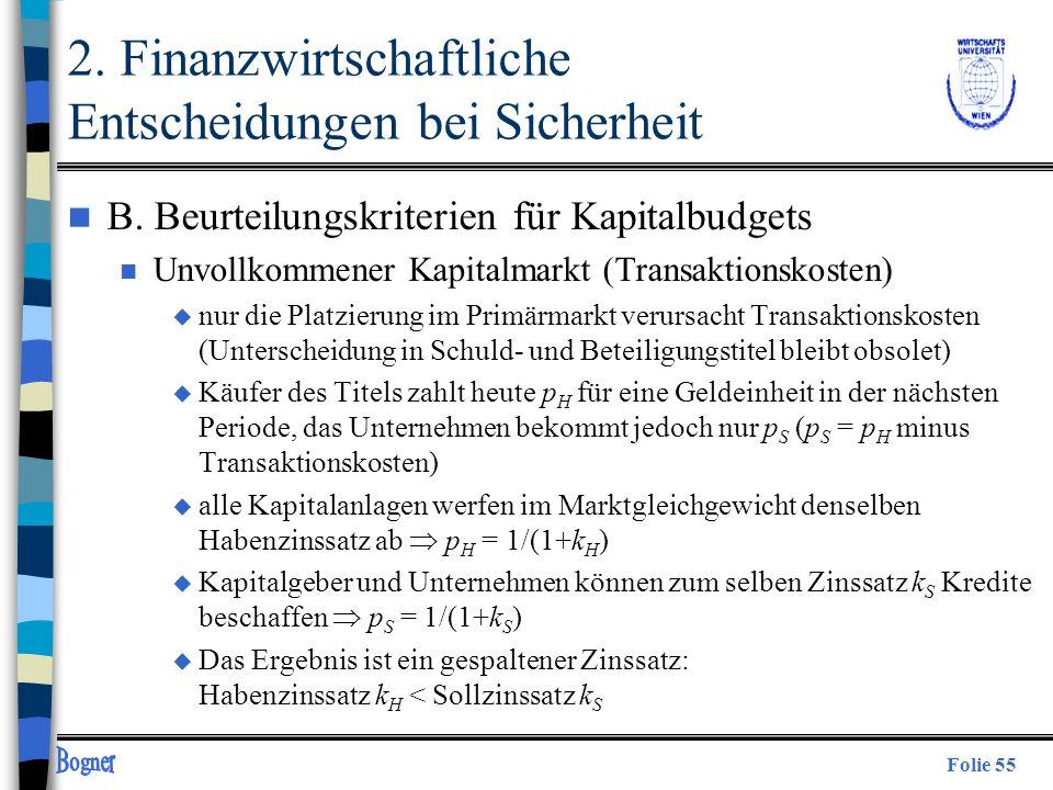 Folie 55 2. Finanzwirtschaftliche Entscheidungen bei Sicherheit n B. Beurteilungskriterien für Kapitalbudgets n Unvollkommener Kapitalmarkt (Transakti