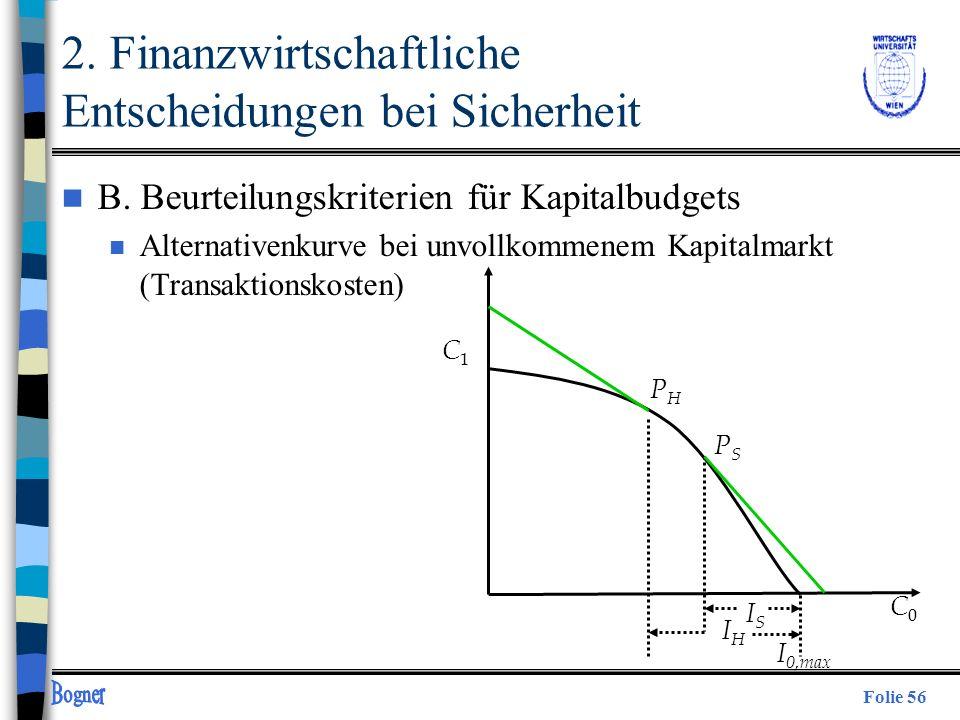 Folie 56 n B. Beurteilungskriterien für Kapitalbudgets n Alternativenkurve bei unvollkommenem Kapitalmarkt (Transaktionskosten) C1C1 PHPH ISIS C0C0 IH