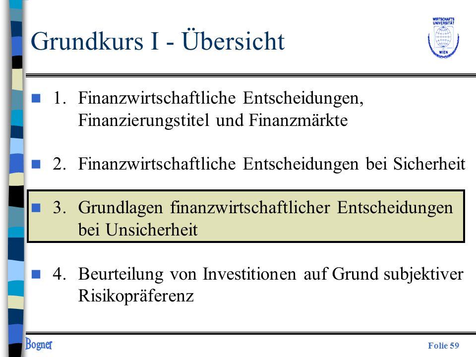 Folie 59 Grundkurs I - Übersicht n 1. Finanzwirtschaftliche Entscheidungen, Finanzierungstitel und Finanzmärkte n 2.Finanzwirtschaftliche Entscheidung