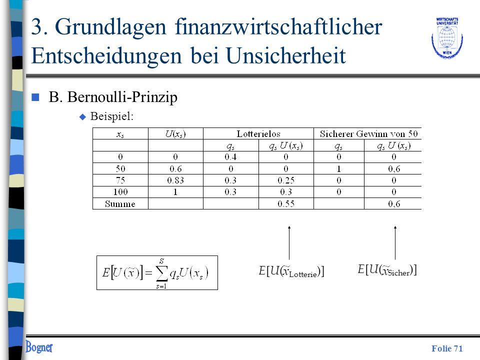 Folie 71 3. Grundlagen finanzwirtschaftlicher Entscheidungen bei Unsicherheit n B. Bernoulli-Prinzip u Beispiel: E [ U ( Lotterie )] E [ U ( Sicher )]