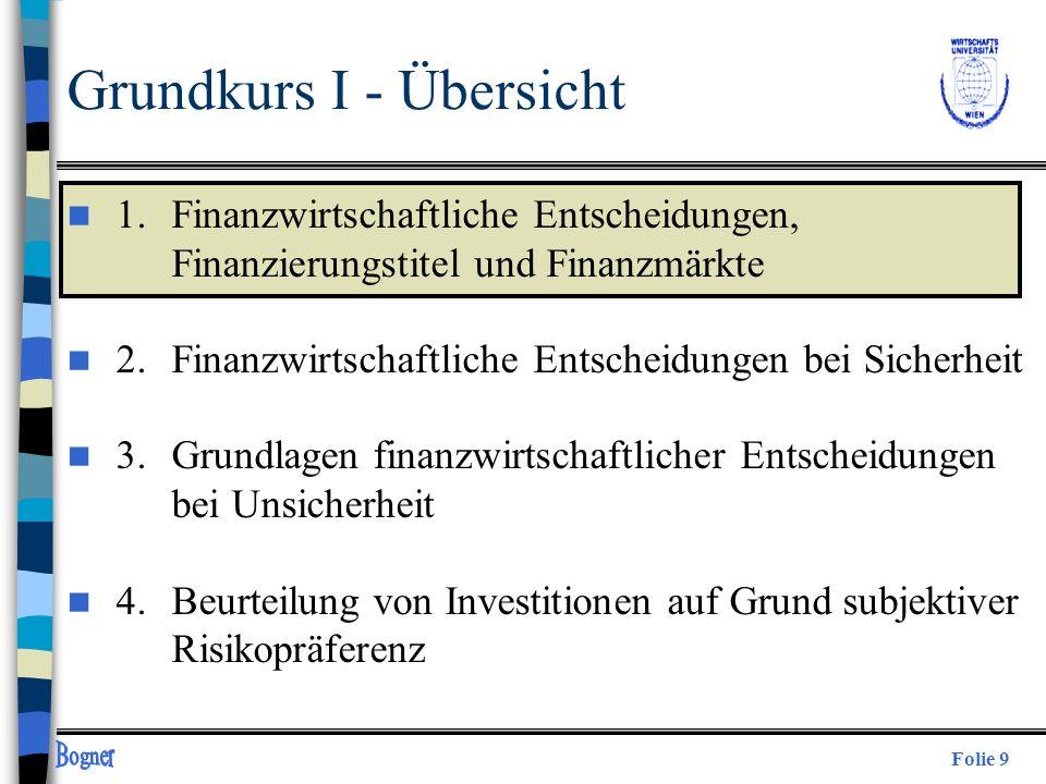 Folie 9 Grundkurs I - Übersicht n 1. Finanzwirtschaftliche Entscheidungen, Finanzierungstitel und Finanzmärkte n 2.Finanzwirtschaftliche Entscheidunge