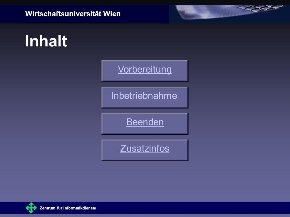 Wirtschaftsuniversität Wien Zentrum für Informatikdienste ZusatzinfosInhaltVorbereitungInbetriebnahmeBeenden Inhalt Zusatzinfos Vorbereitung Inbetriebnahme Beenden