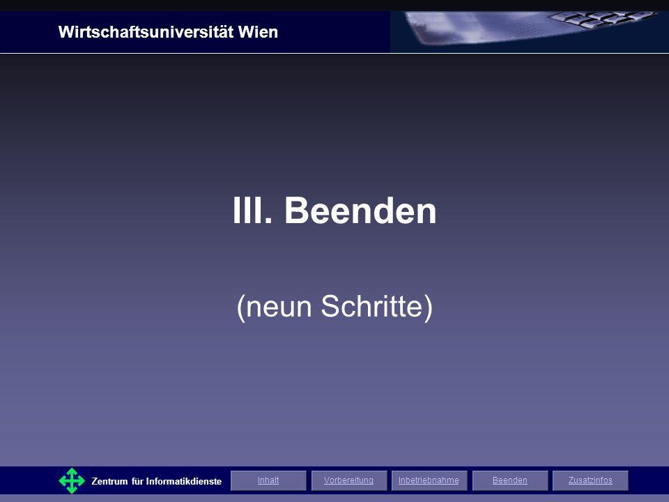 Wirtschaftsuniversität Wien Zentrum für Informatikdienste ZusatzinfosInhaltVorbereitungInbetriebnahmeBeenden Nun sollte Ihrer Präsentation nichts mehr im Wege stehen!