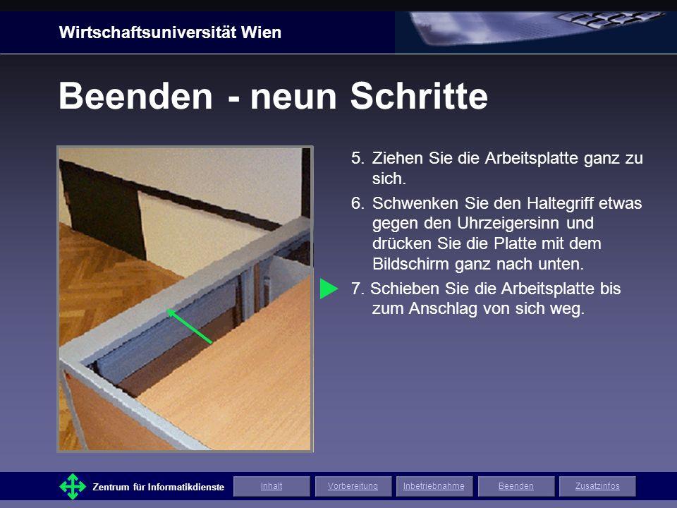 Wirtschaftsuniversität Wien Zentrum für Informatikdienste ZusatzinfosInhaltVorbereitungInbetriebnahmeBeenden Beenden - neun Schritte 5.Ziehen Sie die Arbeitsplatte ganz zu sich.