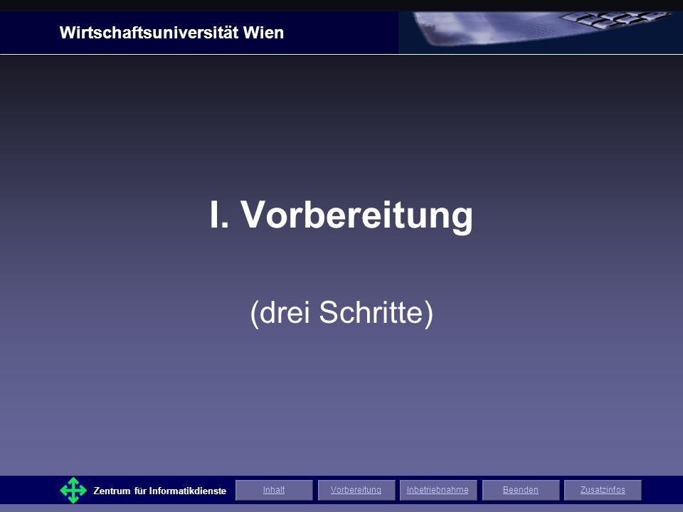 Wirtschaftsuniversität Wien Zentrum für Informatikdienste ZusatzinfosInhaltVorbereitungInbetriebnahmeBeenden Gutes Gelingen.