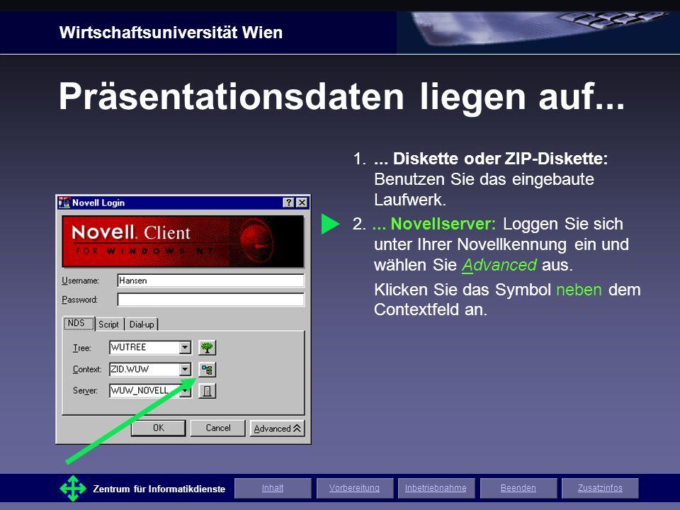 Wirtschaftsuniversität Wien Zentrum für Informatikdienste ZusatzinfosInhaltVorbereitungInbetriebnahmeBeenden Präsentationsdaten liegen auf...