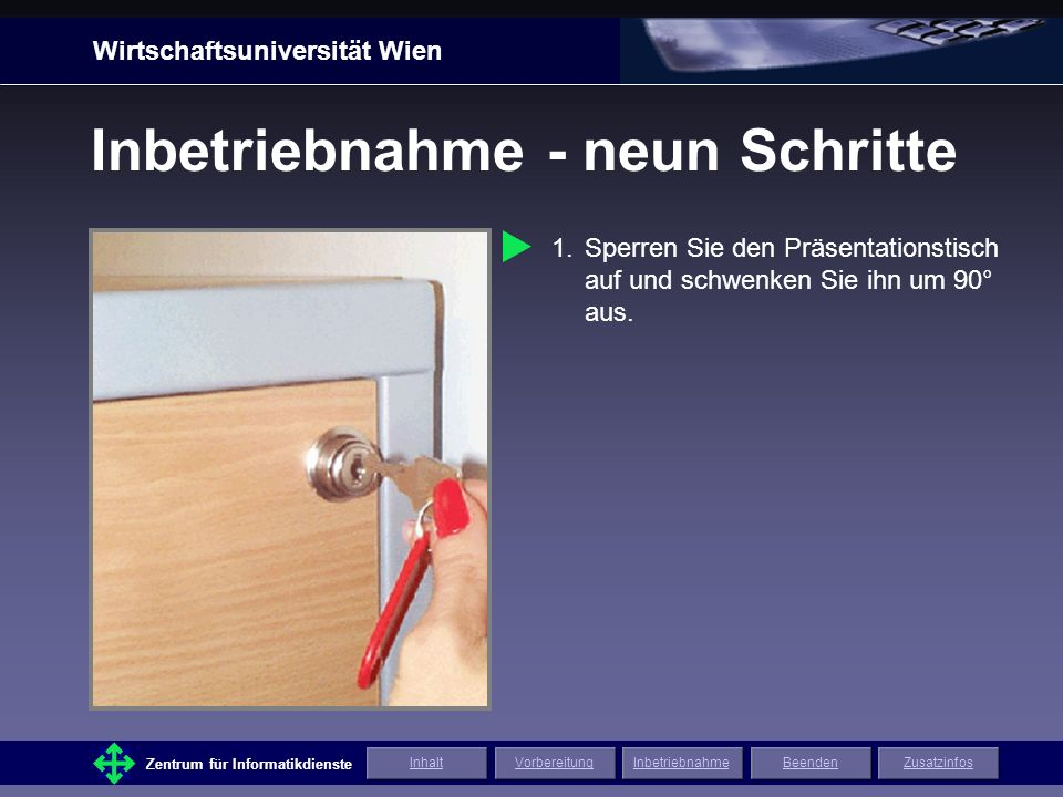 Wirtschaftsuniversität Wien Zentrum für Informatikdienste ZusatzinfosInhaltVorbereitungInbetriebnahmeBeenden Inbetriebnahme - neun Schritte 6.Schalten Sie den Bildschirm ein.