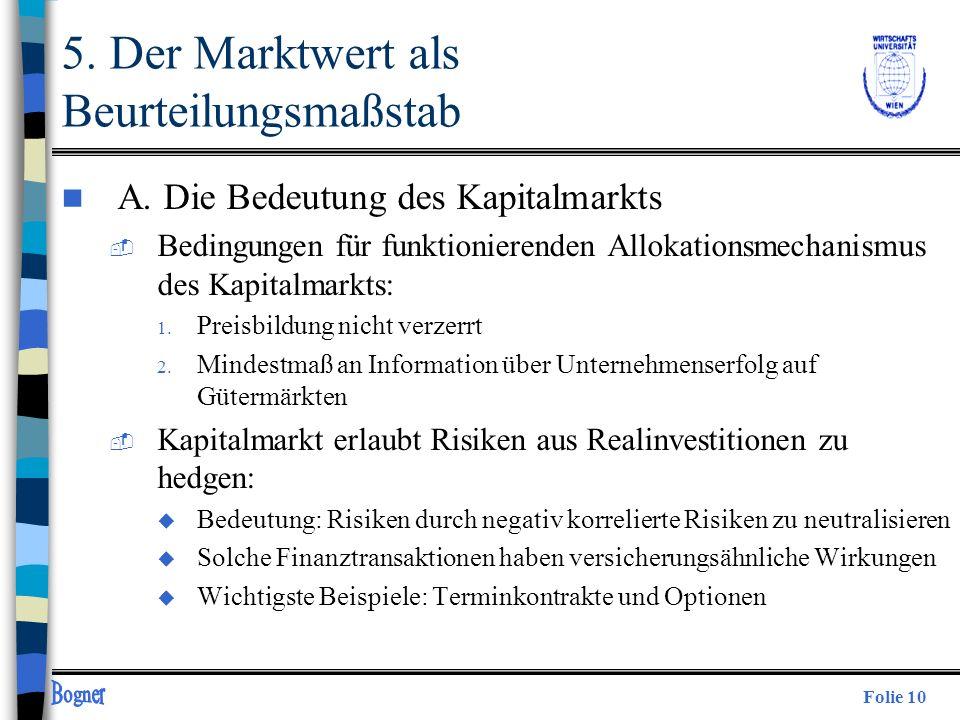 Folie 10 5. Der Marktwert als Beurteilungsmaßstab n A. Die Bedeutung des Kapitalmarkts  Bedingungen für funktionierenden Allokationsmechanismus des K