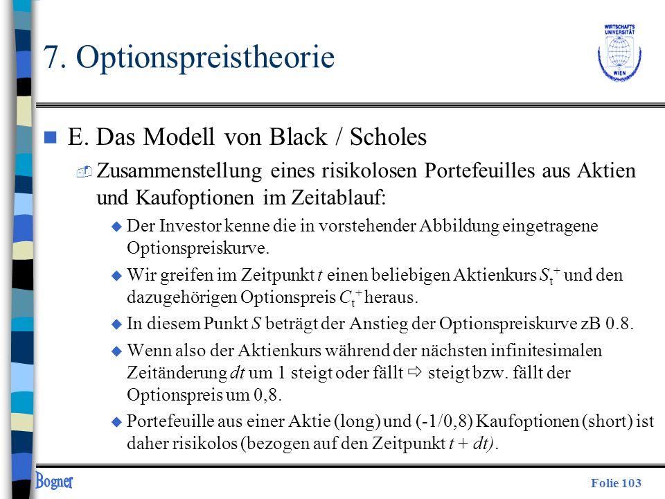 Folie 103 7. Optionspreistheorie n E. Das Modell von Black / Scholes  Zusammenstellung eines risikolosen Portefeuilles aus Aktien und Kaufoptionen im