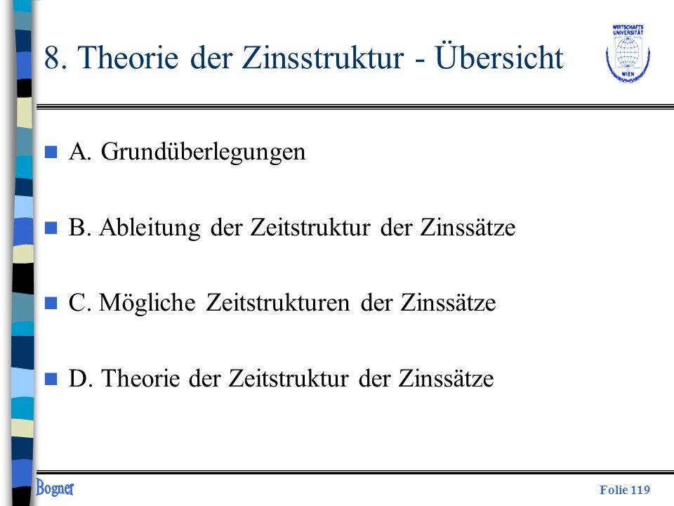 Folie 119 8. Theorie der Zinsstruktur - Übersicht n A. Grundüberlegungen n B. Ableitung der Zeitstruktur der Zinssätze n C. Mögliche Zeitstrukturen de