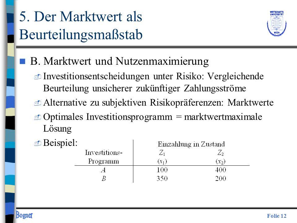 Folie 12 5. Der Marktwert als Beurteilungsmaßstab n B. Marktwert und Nutzenmaximierung  Investitionsentscheidungen unter Risiko: Vergleichende Beurte