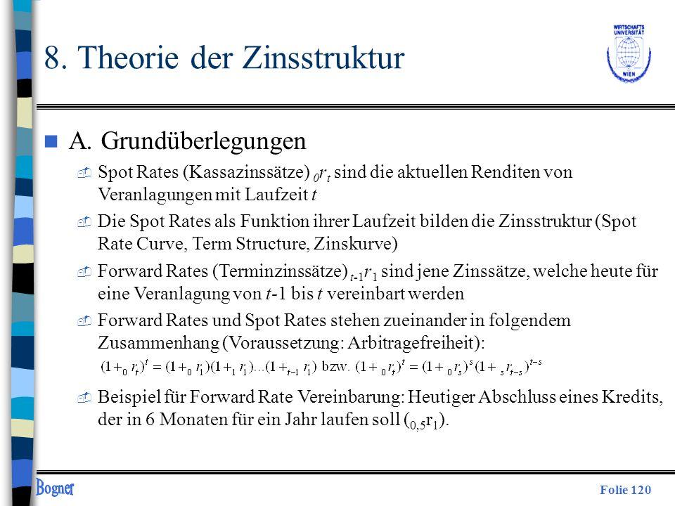 Folie 120 8. Theorie der Zinsstruktur n A. Grundüberlegungen  Spot Rates (Kassazinssätze) 0 r t sind die aktuellen Renditen von Veranlagungen mit Lau