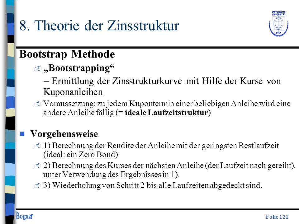 Folie 121 8. Theorie der Zinsstruktur Bootstrap Methode  Bootstrapping = Ermittlung der Zinsstrukturkurve mit Hilfe der Kurse von Kuponanleihen  Vor