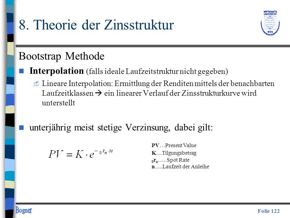Folie 122 8. Theorie der Zinsstruktur Bootstrap Methode n Interpolation (falls ideale Laufzeitstruktur nicht gegeben)  Lineare Interpolation: Ermittl