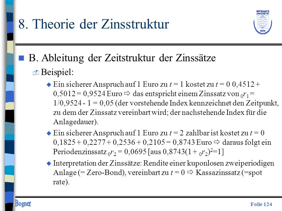 Folie 124 8. Theorie der Zinsstruktur n B. Ableitung der Zeitstruktur der Zinssätze  Beispiel: u Ein sicherer Anspruch auf 1 Euro zu t = 1 kostet zu