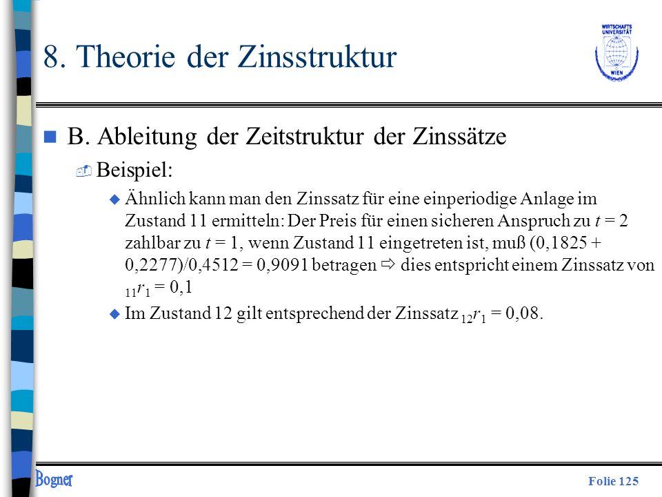 Folie 125 8. Theorie der Zinsstruktur n B. Ableitung der Zeitstruktur der Zinssätze  Beispiel: u Ähnlich kann man den Zinssatz für eine einperiodige