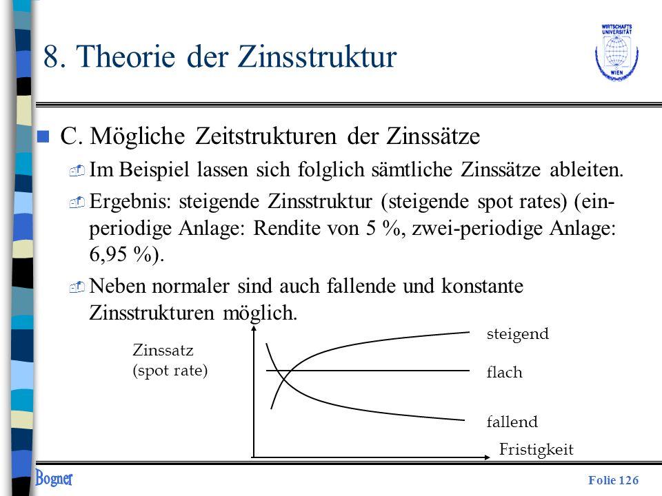 Folie 126 Zinssatz (spot rate) Fristigkeit fallend flach steigend 8. Theorie der Zinsstruktur n C. Mögliche Zeitstrukturen der Zinssätze  Im Beispiel