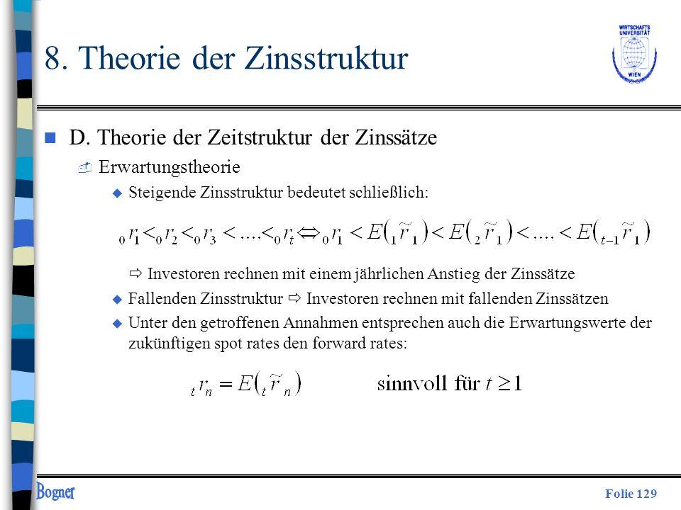 Folie 129 8. Theorie der Zinsstruktur n D. Theorie der Zeitstruktur der Zinssätze  Erwartungstheorie u Steigende Zinsstruktur bedeutet schließlich: I
