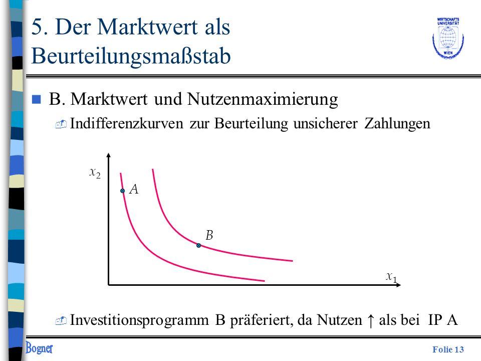 Folie 13 n B. Marktwert und Nutzenmaximierung  Indifferenzkurven zur Beurteilung unsicherer Zahlungen  Investitionsprogramm B präferiert, da Nutzen