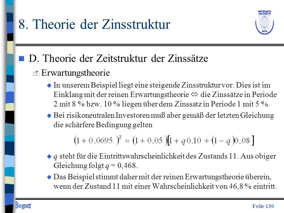 Folie 130 n D. Theorie der Zeitstruktur der Zinssätze  Erwartungstheorie u In unserem Beispiel liegt eine steigende Zinsstruktur vor. Dies ist im Ein