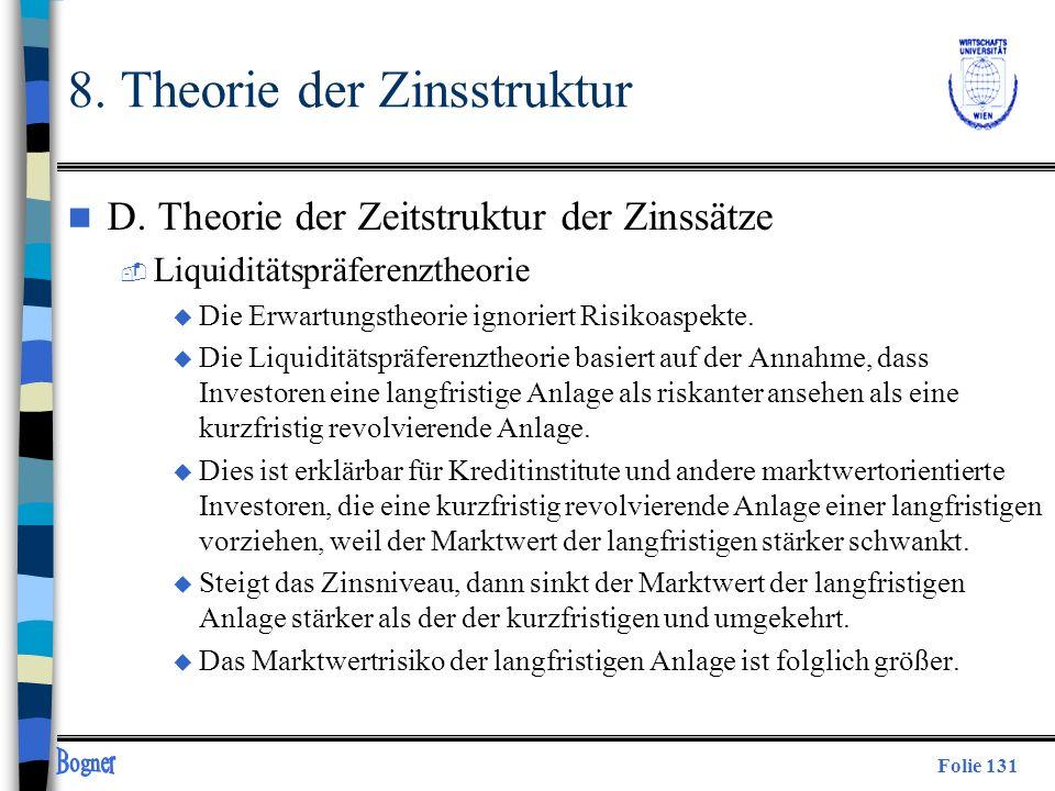 Folie 131 8. Theorie der Zinsstruktur n D. Theorie der Zeitstruktur der Zinssätze  Liquiditätspräferenztheorie u Die Erwartungstheorie ignoriert Risi