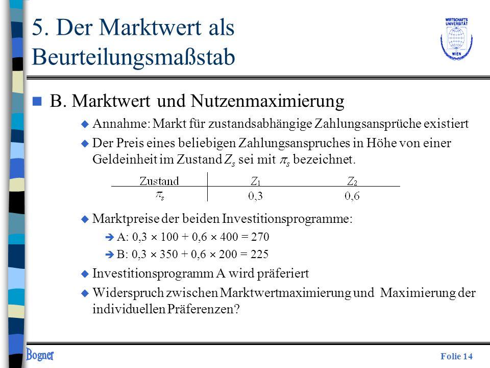 Folie 14 n B. Marktwert und Nutzenmaximierung u Annahme: Markt für zustandsabhängige Zahlungsansprüche existiert u Der Preis eines beliebigen Zahlungs