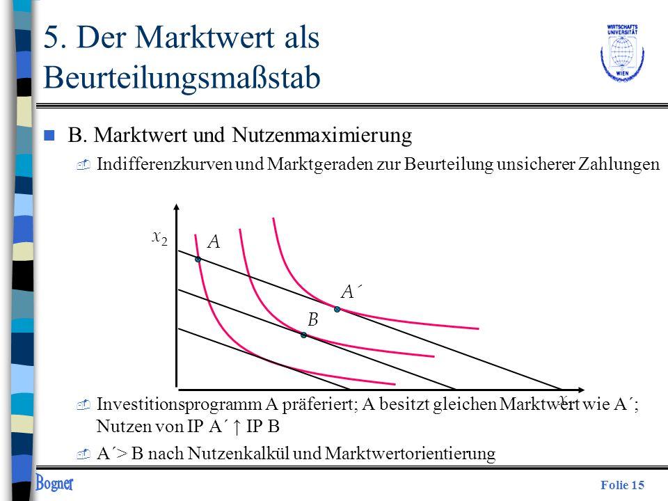 Folie 15 n B. Marktwert und Nutzenmaximierung  Indifferenzkurven und Marktgeraden zur Beurteilung unsicherer Zahlungen  Investitionsprogramm A präfe