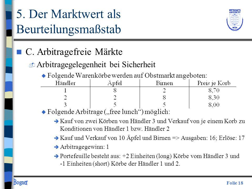 Folie 18 5. Der Marktwert als Beurteilungsmaßstab n C. Arbitragefreie Märkte  Arbitragegelegenheit bei Sicherheit u Folgende Warenkörbe werden auf Ob