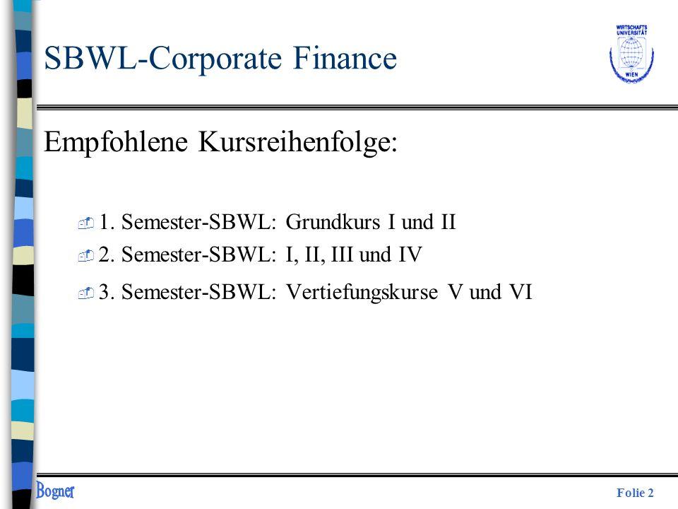 Folie 2 SBWL-Corporate Finance Empfohlene Kursreihenfolge:  1. Semester-SBWL: Grundkurs I und II  2. Semester-SBWL: I, II, III und IV  3. Semester-