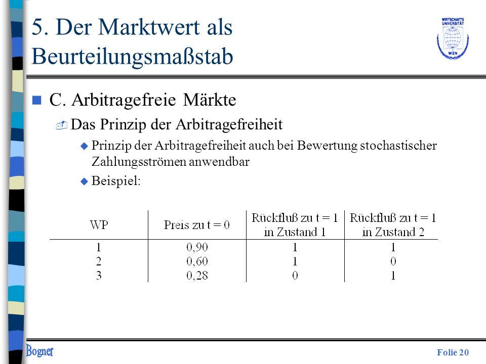 Folie 20 5. Der Marktwert als Beurteilungsmaßstab n C. Arbitragefreie Märkte  Das Prinzip der Arbitragefreiheit u Prinzip der Arbitragefreiheit auch