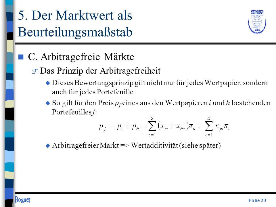 Folie 23 n C. Arbitragefreie Märkte  Das Prinzip der Arbitragefreiheit u Dieses Bewertungsprinzip gilt nicht nur für jedes Wertpapier, sondern auch f
