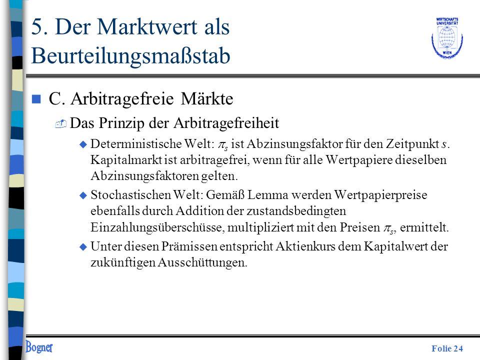 Folie 24 n C. Arbitragefreie Märkte  Das Prinzip der Arbitragefreiheit Deterministische Welt: s ist Abzinsungsfaktor für den Zeitpunkt s. Kapitalmark