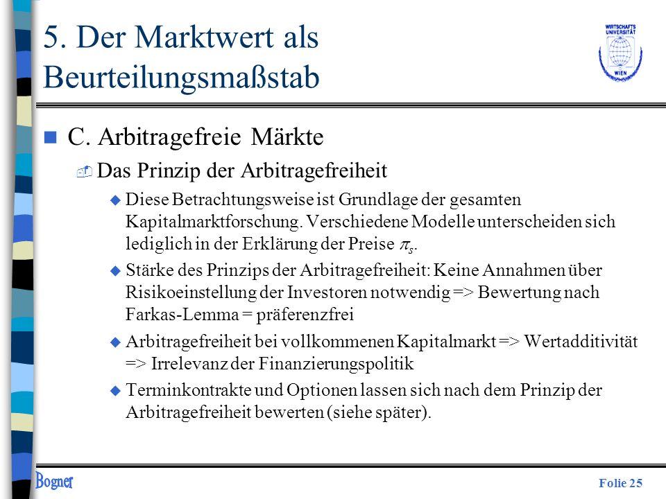 Folie 25 n C. Arbitragefreie Märkte  Das Prinzip der Arbitragefreiheit Diese Betrachtungsweise ist Grundlage der gesamten Kapitalmarktforschung. Vers