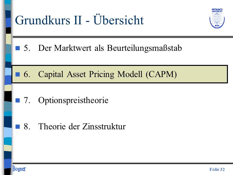 Folie 32 Grundkurs II - Übersicht n 5. Der Marktwert als Beurteilungsmaßstab n 6.Capital Asset Pricing Modell (CAPM) n 7.Optionspreistheorie n 8.Theor