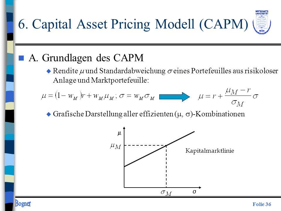 Folie 36 n A. Grundlagen des CAPM Rendite und Standardabweichung eines Portefeuilles aus risikoloser Anlage und Marktportefeuille: u Grafische Darstel