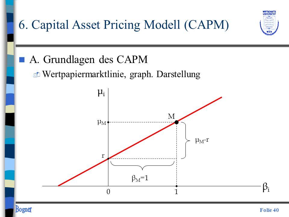 Folie 40 6. Capital Asset Pricing Modell (CAPM) n A. Grundlagen des CAPM  Wertpapiermarktlinie, graph. Darstellung μiμi μMμM r β M =1 μ M -r 10 βiβi