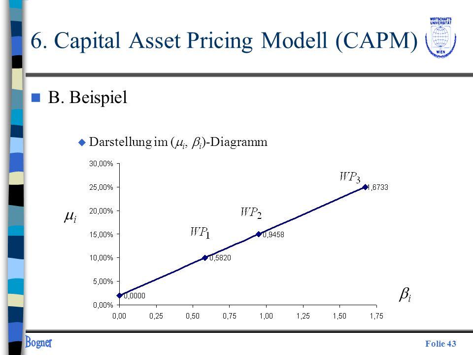 Folie 43 n B. Beispiel Darstellung im ( i, i )-Diagramm i i 6. Capital Asset Pricing Modell (CAPM)