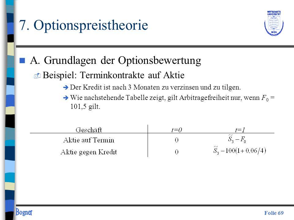 Folie 69 7. Optionspreistheorie n A. Grundlagen der Optionsbewertung  Beispiel: Terminkontrakte auf Aktie è Der Kredit ist nach 3 Monaten zu verzinse