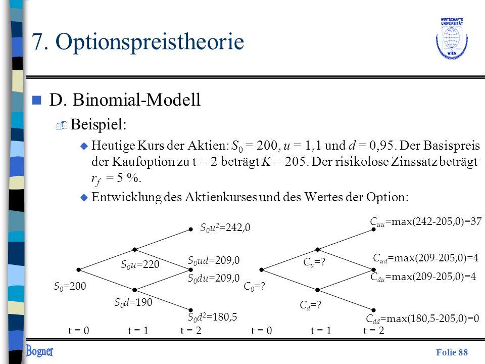Folie 88 7. Optionspreistheorie n D. Binomial-Modell  Beispiel: u Heutige Kurs der Aktien: S 0 = 200, u = 1,1 und d = 0,95. Der Basispreis der Kaufop