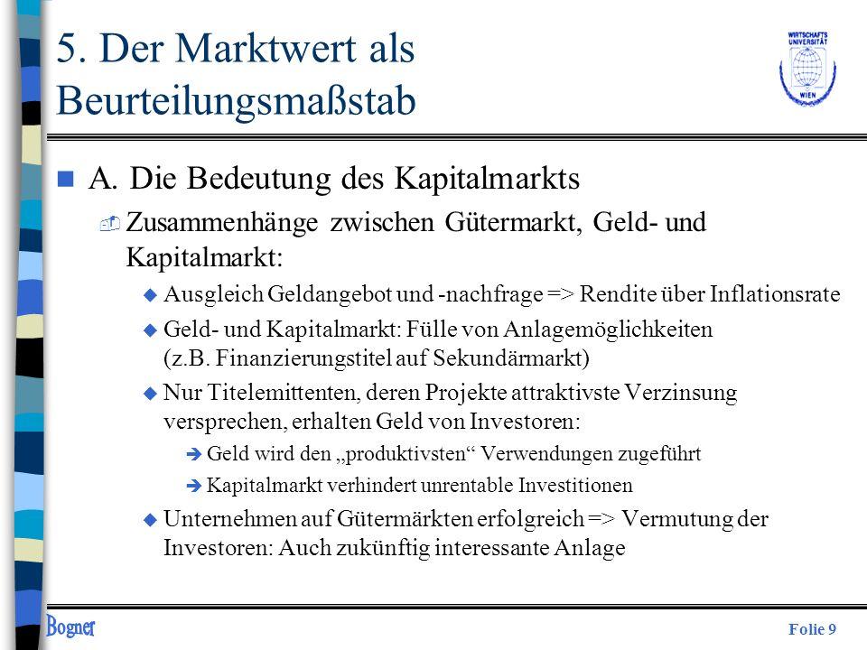 Folie 9 5. Der Marktwert als Beurteilungsmaßstab n A. Die Bedeutung des Kapitalmarkts  Zusammenhänge zwischen Gütermarkt, Geld- und Kapitalmarkt: u A