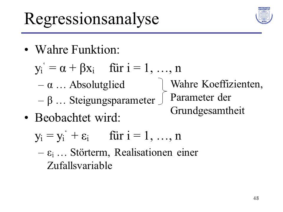 48 Regressionsanalyse Wahre Funktion: y i = α + βx i für i = 1, …, n –α … Absolutglied –β … Steigungsparameter Beobachtet wird: y i = y i + ε i für i