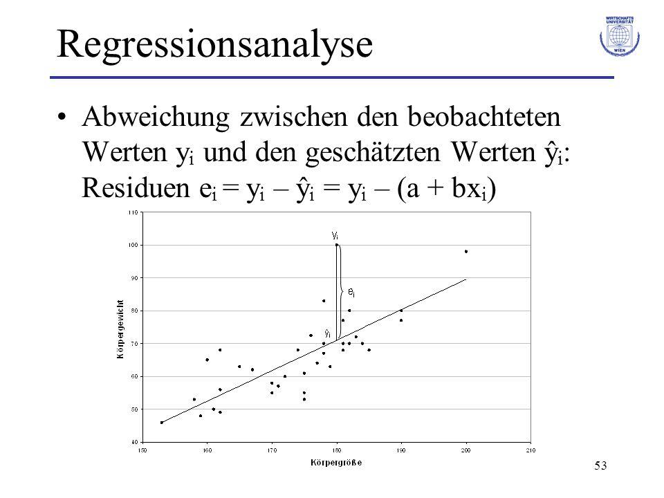 53 Regressionsanalyse Abweichung zwischen den beobachteten Werten y i und den geschätzten Werten ŷ i : Residuen e i = y i – ŷ i = y i – (a + bx i )