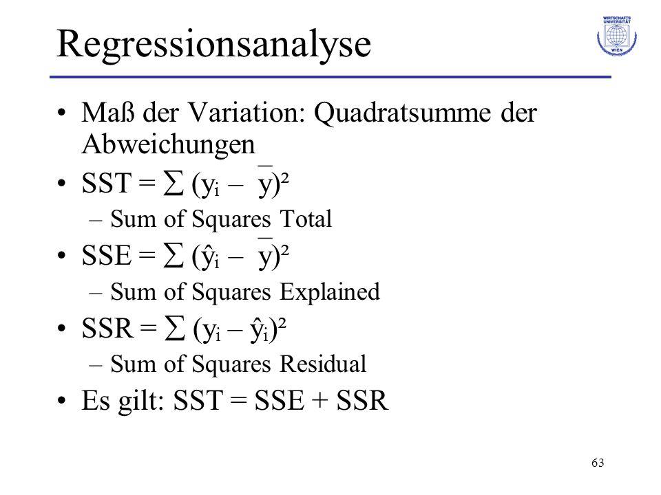 63 Regressionsanalyse Maß der Variation: Quadratsumme der Abweichungen SST = (y i – y)² –Sum of Squares Total SSE = (ŷ i – y)² –Sum of Squares Explained SSR = (y i – ŷ i )² –Sum of Squares Residual Es gilt: SST = SSE + SSR