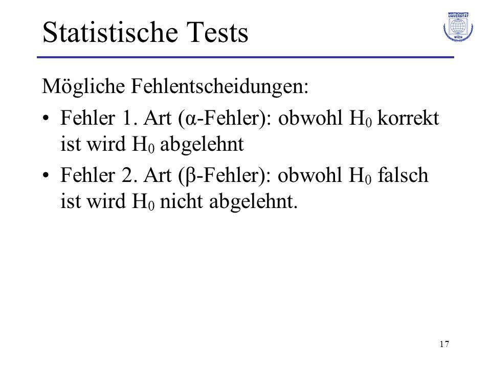17 Statistische Tests Mögliche Fehlentscheidungen: Fehler 1. Art (α-Fehler): obwohl H 0 korrekt ist wird H 0 abgelehnt Fehler 2. Art (β-Fehler): obwoh