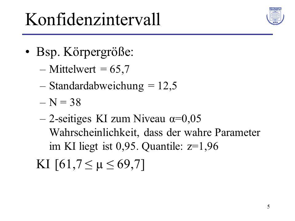 5 Bsp. Körpergröße: –Mittelwert = 65,7 –Standardabweichung = 12,5 –N = 38 –2-seitiges KI zum Niveau α=0,05 Wahrscheinlichkeit, dass der wahre Paramete
