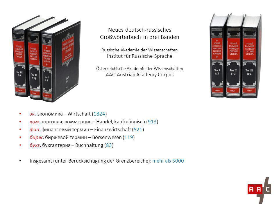 Neues deutsch-russisches Großwörterbuch in drei Bänden Russische Akademie der Wissenschaften Institut für Russische Sprache Österreichische Akademie d