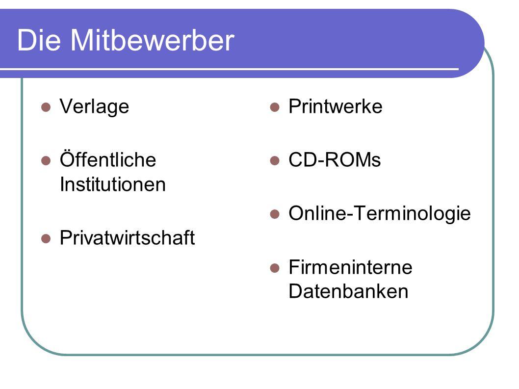 Die Mitbewerber Verlage Öffentliche Institutionen Privatwirtschaft Printwerke CD-ROMs Online-Terminologie Firmeninterne Datenbanken
