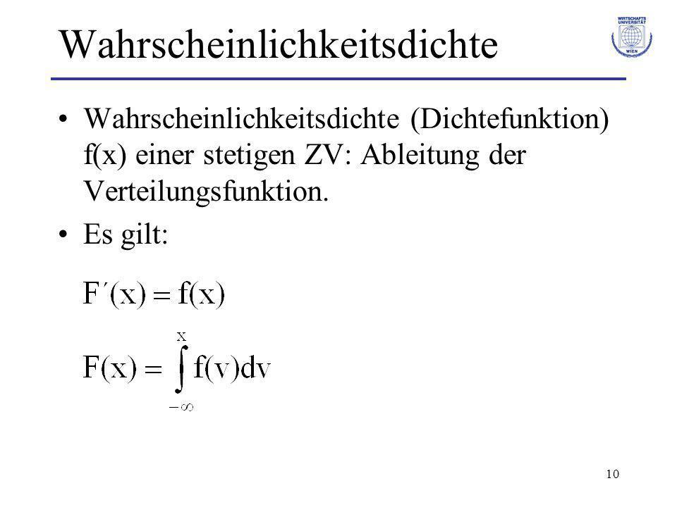 10 Wahrscheinlichkeitsdichte Wahrscheinlichkeitsdichte (Dichtefunktion) f(x) einer stetigen ZV: Ableitung der Verteilungsfunktion. Es gilt: