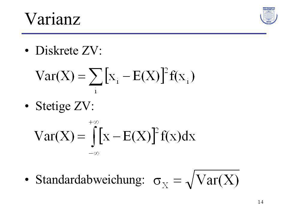 14 Varianz Diskrete ZV: Stetige ZV: Standardabweichung: