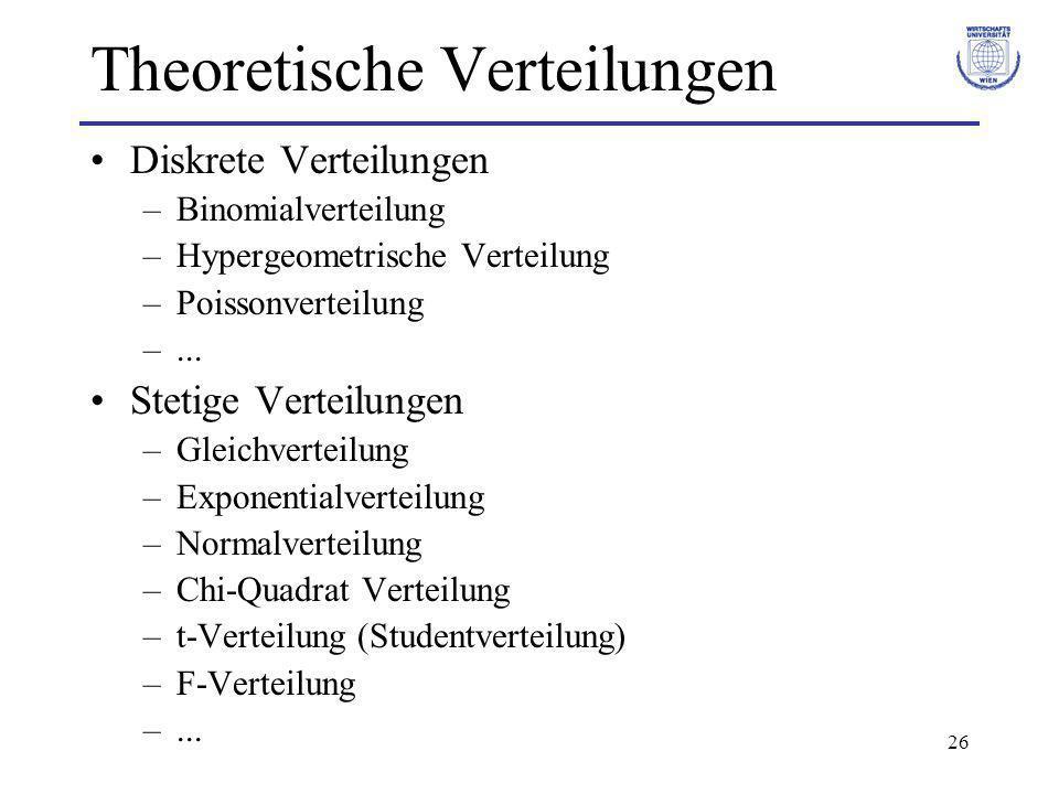 26 Theoretische Verteilungen Diskrete Verteilungen –Binomialverteilung –Hypergeometrische Verteilung –Poissonverteilung –... Stetige Verteilungen –Gle